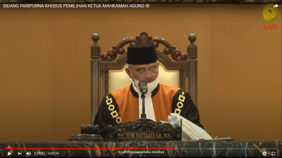 Sidang Paripurna Khusus Pemilian Ketua Mahkamah Agung RI